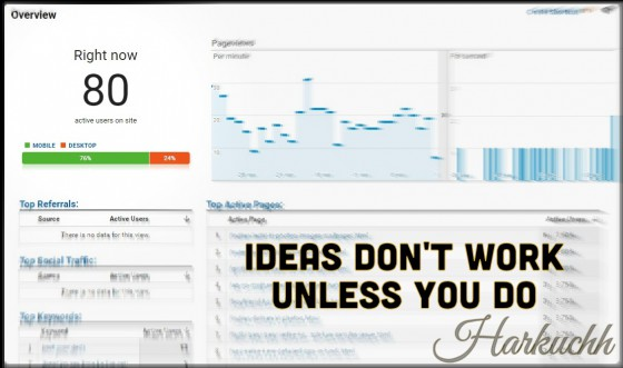 Ideas Don't Work Unless You Do Harkuchh Post Article about Internet Marketing (IM) & Blogging