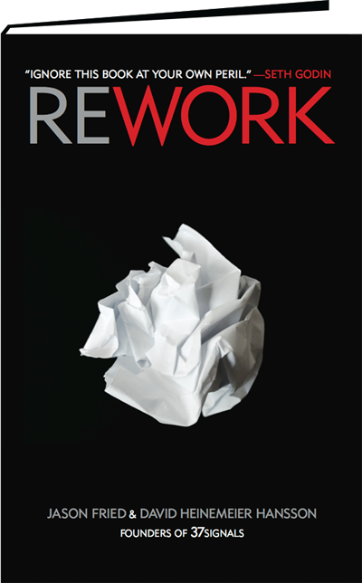 Rework by David Heinemeier Hansson and Jason Fried Book Front Cover Image HD